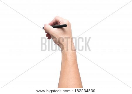 writing hand. male hand hold black pen write on the wall isolated on white with clipping path