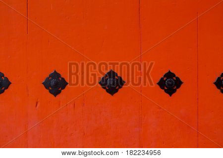 Japanese Red Temple Wood Gate Culture Detail Architecture For Background