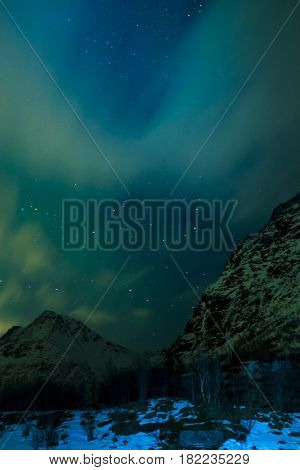 Aurora Borealis Known as Nother Lights Playing with Vivid Colors Over Lofoten Islands in Norway. Vertical Image Orientation