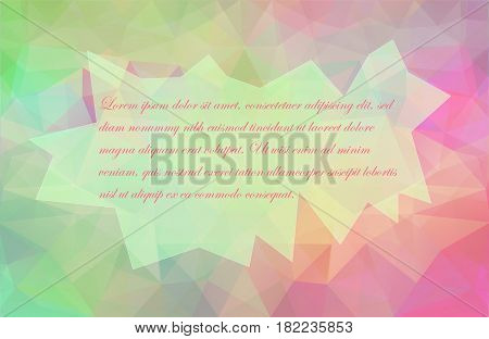 Green-Pink Semitransparent Poligonal  Background with Geometric Place for Text. Vector EPS 10