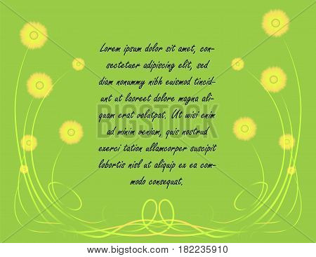 Simplistic Spring Background with Yellow Flowers, Elegant Frame and Place for Text in the Center. Vector EPS 10
