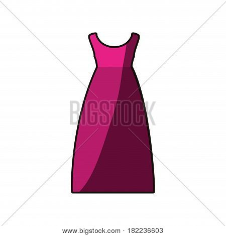 colorful drawing of fuchsia dress eighties retro style vector illustration
