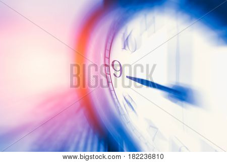 Clock Time With Zoom Motion Blur Focus At 9 O'clock, Fast Speed Business Hour Concept.