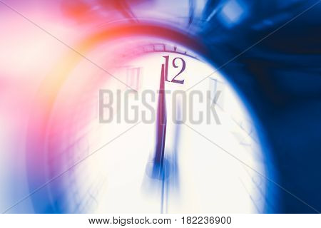 Clock Time With Zoom Motion Blur Focus At 12 O'clock, Fast Speed Business Hour Concept.