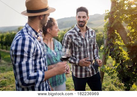 Wine grower and people in winery vineyard