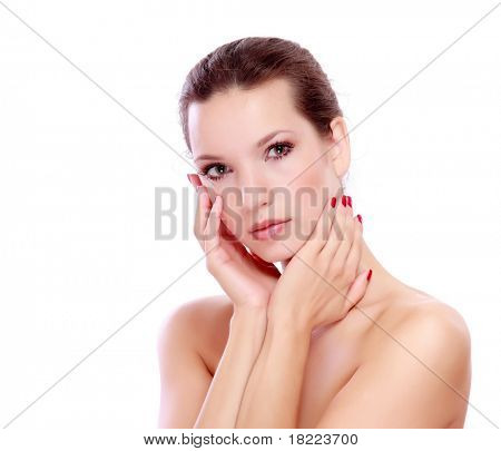 Portrait of young adult woman with health skin