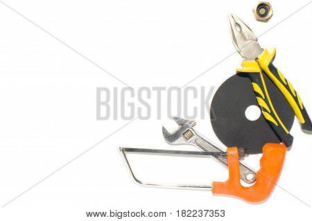 Brilliant keys and pliers on a white background.