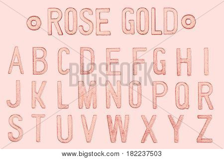Rose Gold Letter Or Golden Pink Color Retro Style Font Face Or Font Type Letter A To Z