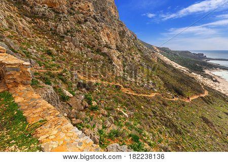 Trail to the Balos beach on Crete, Greece