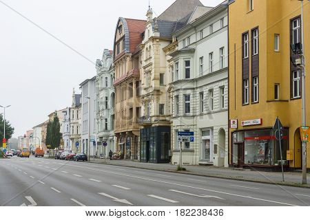 COTTBUS GERMANY - OCTOBER 18 2016: The city center. Cottbus is a university city and the second-largest city in federal state of Brandenburg.