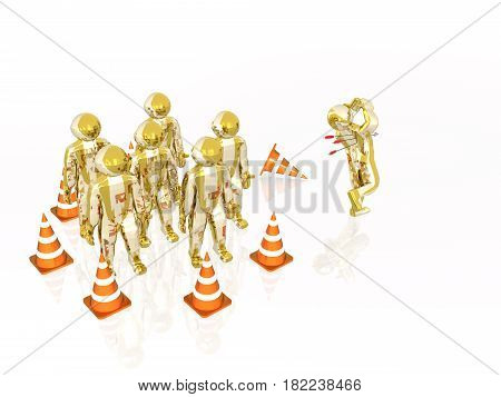 Men with arrows on white reflective background 3D illustration.