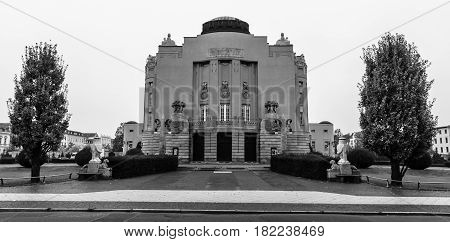 COTTBUS GERMANY - OCTOBER 18 2016: The Art-Nouveau facade of the State Theater (1905). Cottbus is a university and the second-largest city in federal state of Brandenburg. Black and white