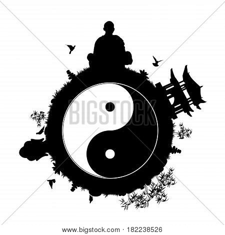 black silhouette of a little peaceful planet with a man meditating pagoda buddha head statue stone pyramids lotus flowers bamboos and other plants; symbol of a peaceful and quiet world with yin yang sign