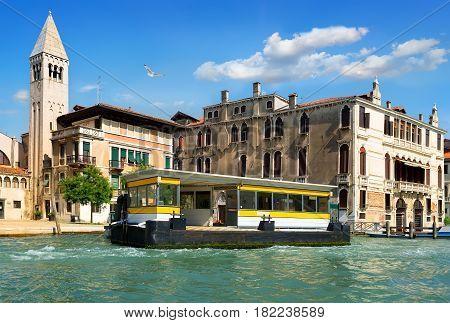 Vaporetto stop in Venice near ancient buildings, Italy