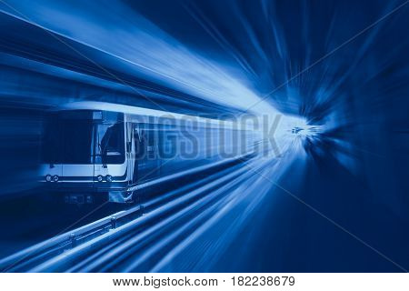 High speed business train transport and technology concept Acceleration super fast speedy motion zoom blur of sky train station for background design.