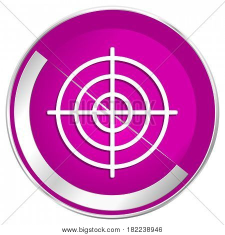 Target web design violet silver metallic border internet icon.