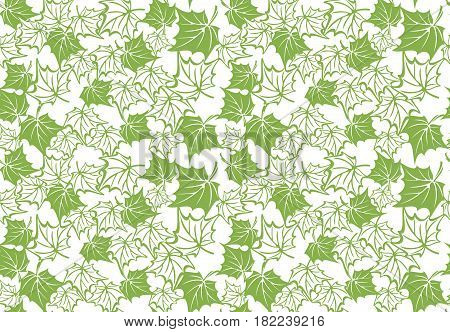 Greenery maple eco seamless pattern background, vector illustration. Spring color 2017 foliage wallpaper. Wrapping paper design