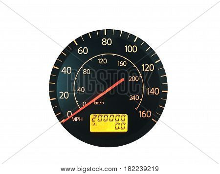 Photograph of a car speedometer with exactly 200000 miles on the odometer. Isolated on white. Concepts could include age reliability transportation other.