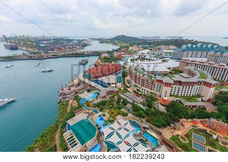 Singapore cargo terminal port with Sentosa island arial view from cabel car at Singapore