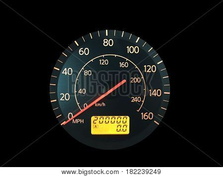 Photograph of a car speedometer with exactly 200000 miles on the odometer. Isolated on black. Concepts could include age reliability transportation other.