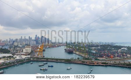 Singapore cargo terminal port arial view from cabel car at Singapore