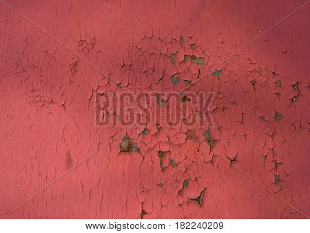 Peeling red paint on the iron wall. Metal texture with cracks and rust. Horizontal rectangular background.