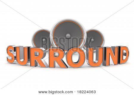 Three Speakers - Surround Bent In Orange