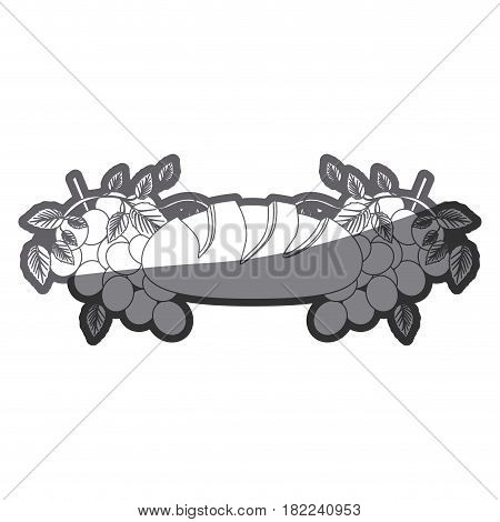 grayscale silhouette of communion religious icons of bread and grapes vector illustration