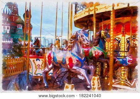 Colorful painting of carousel decoration and illumination for New Year and Christmas holidays at night