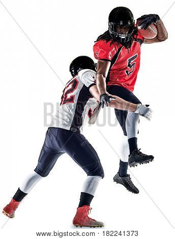 two american football players men studio isolated on white background