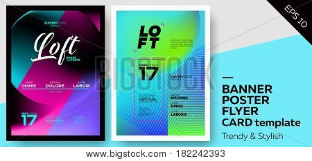 Set of Trendy Colourful Covers. Musical Party Template: Electro Techno House. Template for Poster Promo Web Banner Party Flyer Invitation.