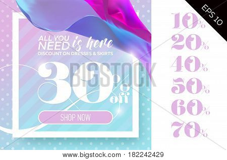Vector Sale Template with Flying Silk on Polka Dot Pastel Background. Spring Elegant Advertising For Cloth Shop Fabric Store Web Banner Pop-up Poster Flyer.
