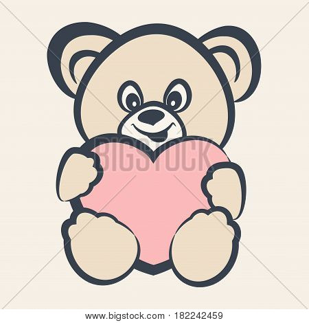 Teddy bear toy smiling bear toy with heart for happiness childhood vector illustration
