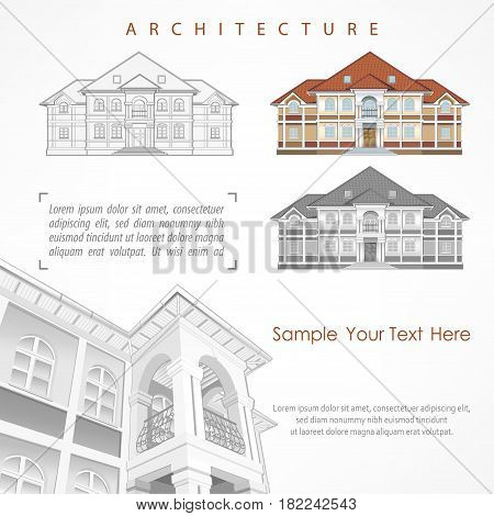 Architectural plan of building facade with terrace cottage drawing with detailed specification vector illustration on white