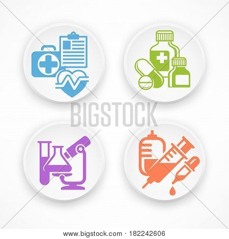 Set of medical symbols in white round icons medicine vector illustration