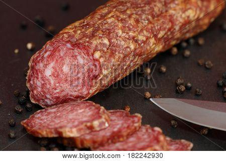 A German specialty old sausage hesse salami