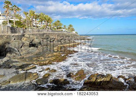Promenade along ocean coast in Gran Canaria