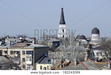 Roofs of old city center of Odessa with christian orthodox cathedral,Ukraine,Europe