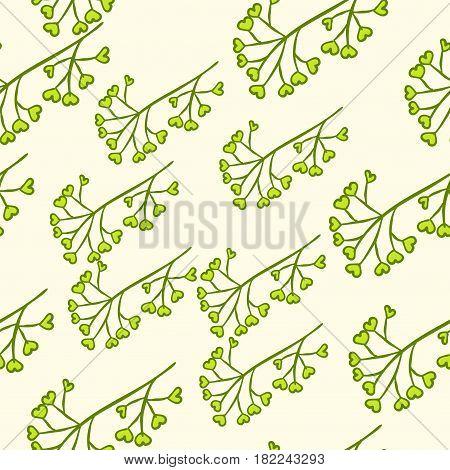 Seamless Green Berry Branch Pattern