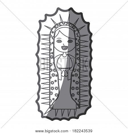 grayscale silhouette of canvas of pretty virgin of guadalupe vector illustration