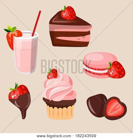 Very high quality original trendy vector set with strawberry milk shake, cake, macaroons, strawberry in chocolate