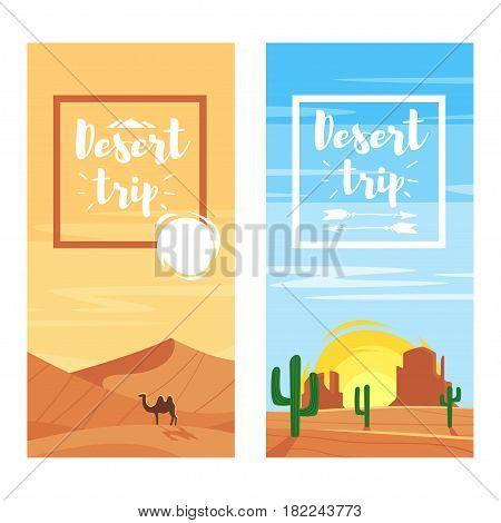 Vector cartoon style template for flyers for desert trip. Desert landscapes.