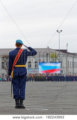 Russian Soldier Salutes At The Parade On An Annual Victory Day (wwii)