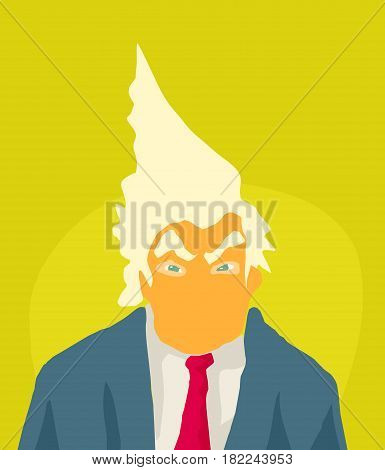 Abstract Orange Trump Caricature With Spiked Hair