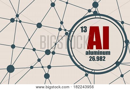 Aluminum chemical element. Sign with atomic number and atomic weight. Chemical element of periodic table. Molecule And Communication Background. Connected lines with dots.
