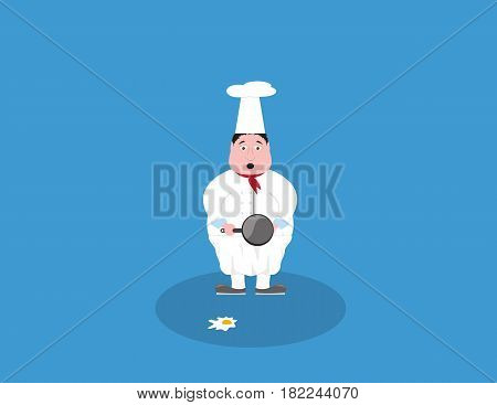 clumsy cook chef standing with pan and egg which is laying on the ground. Cartoon character illustration