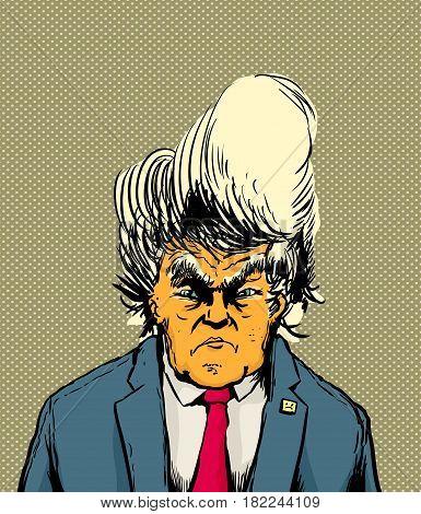 Frowning Orange Skinned Donald Trump