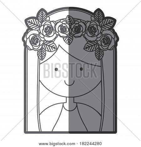 grayscale silhouette of half body beautiful virgin with crown of roses vector illustration
