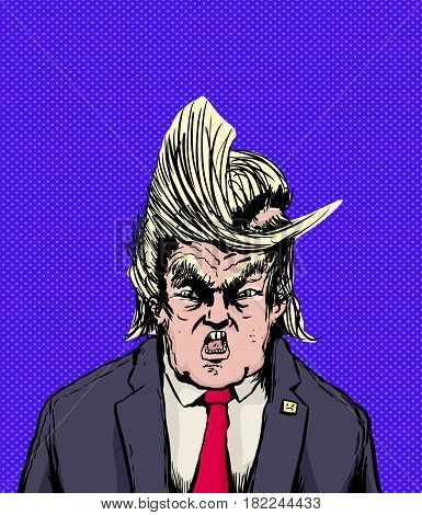 Screaming Trump With Weird Parted Hair