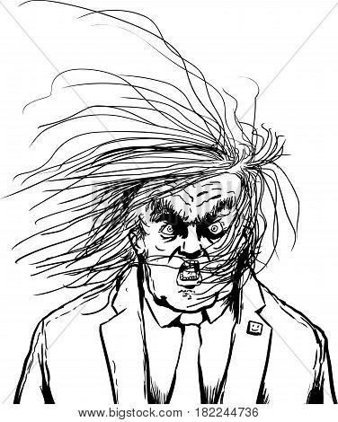 Outine Cartoon Of Hair Blowing In Face Of Donald Trump